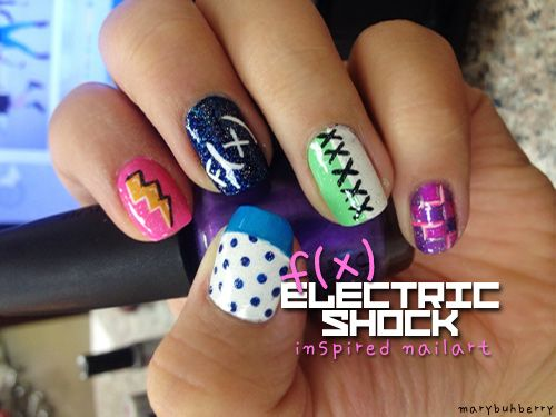 the pics that theyre inspired from are on this linkhttp://marybuhberry.tumblr.com/post/25054477464/f-x-electric-shock-inspired-nails-dedicated-to you can also just reblog if youd like ;D BTW.love your page 3  These are fanstastic! Simple, yet super cute!