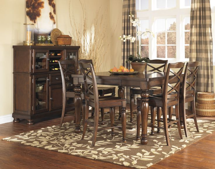 ashley furniture hyland dining room table set collection pads counter height sets extension