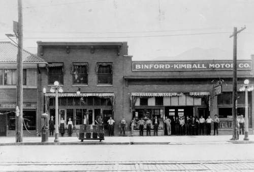 Courtesy   Utah State Historical Society Binford-Kimball Motor Company, a Ford dealership, located at 2620 Washington Blvd., Ogden, Utah. Date unknown.