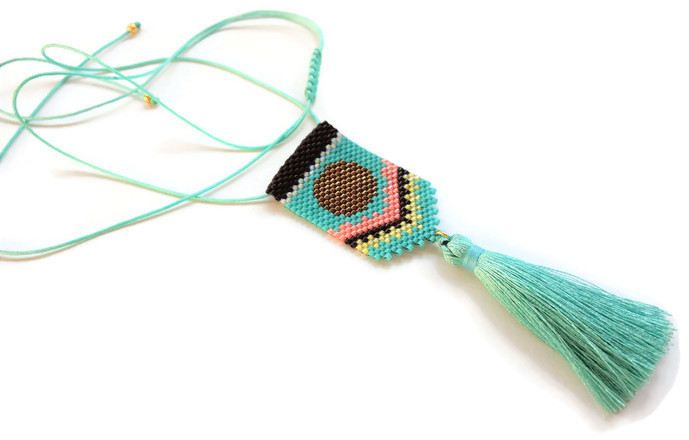 Turquoise necklace, Seed bead tassel necklace, Bohemian style necklace, Tribal necklace, Made in Greece, Spring jewel, Gifts for her by SouSouHandmadeArt on Etsy