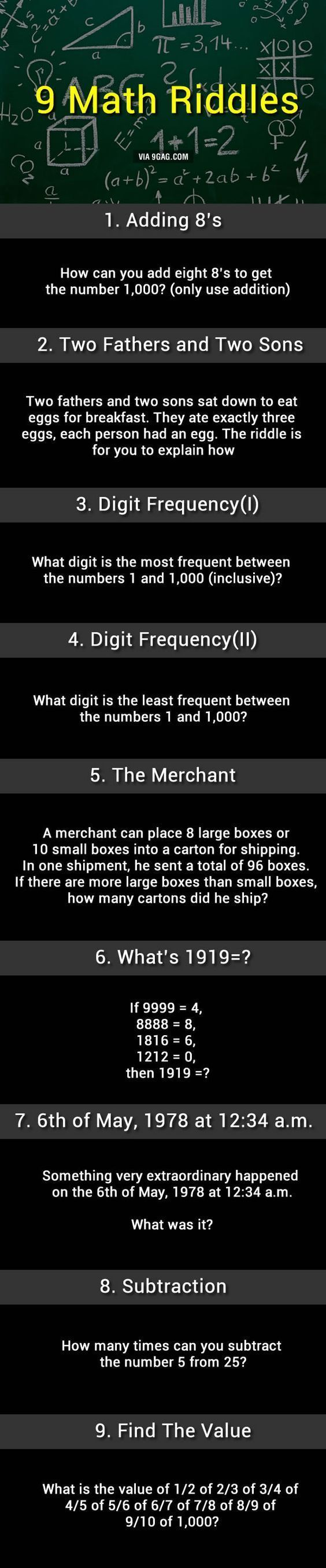 9 Math Riddles, Can You Solve Them? #mathtricks #mathhacks