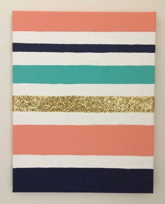 Custom Glitter Striped Canvas- Dorm Room, Graduation, Sorority or Baby gifts