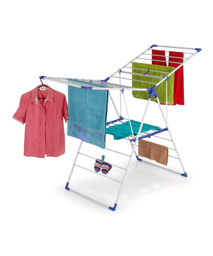 Blue & White Collapsible Clothes Drying Stand