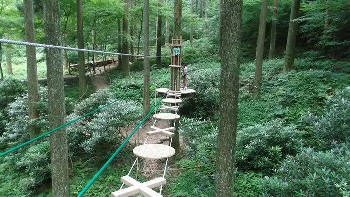 白糸の滝から車で約10分の「フォレストアドベンチャー・糸島」。「フォレストアドベンチャー」はフランス発祥の自然共生型エコパークのこと。専用のハーネスを装着して木から木へと空中移動していく、スリルのあるアドベンチャーが体験できます。