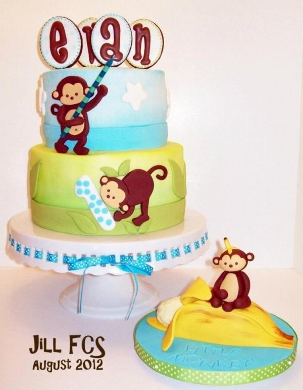 Mod Pod Monkey Birthday Cake & Smash Cake
