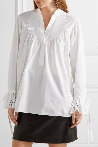 White cotton-poplin and broderie anglaise Partially concealed button fastenings along front 100% cotton Dry clean Imported