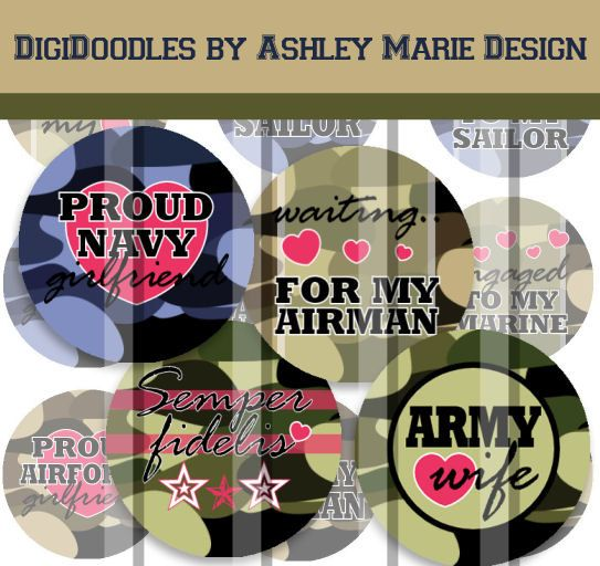 Military Love  Marine Navy Army Airforce  4 x by AshleyMarieDesign, $1.99