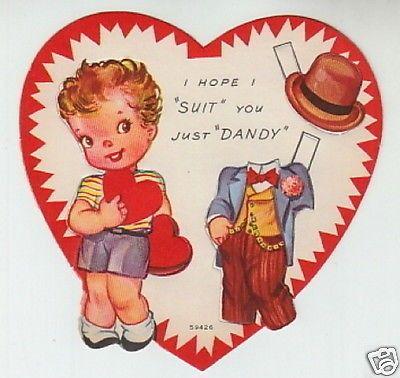 5 UNUSED Valentine Greeting Paper Doll Cards RARE Uncut Vintage 1940s Hearts (01/28/2014)