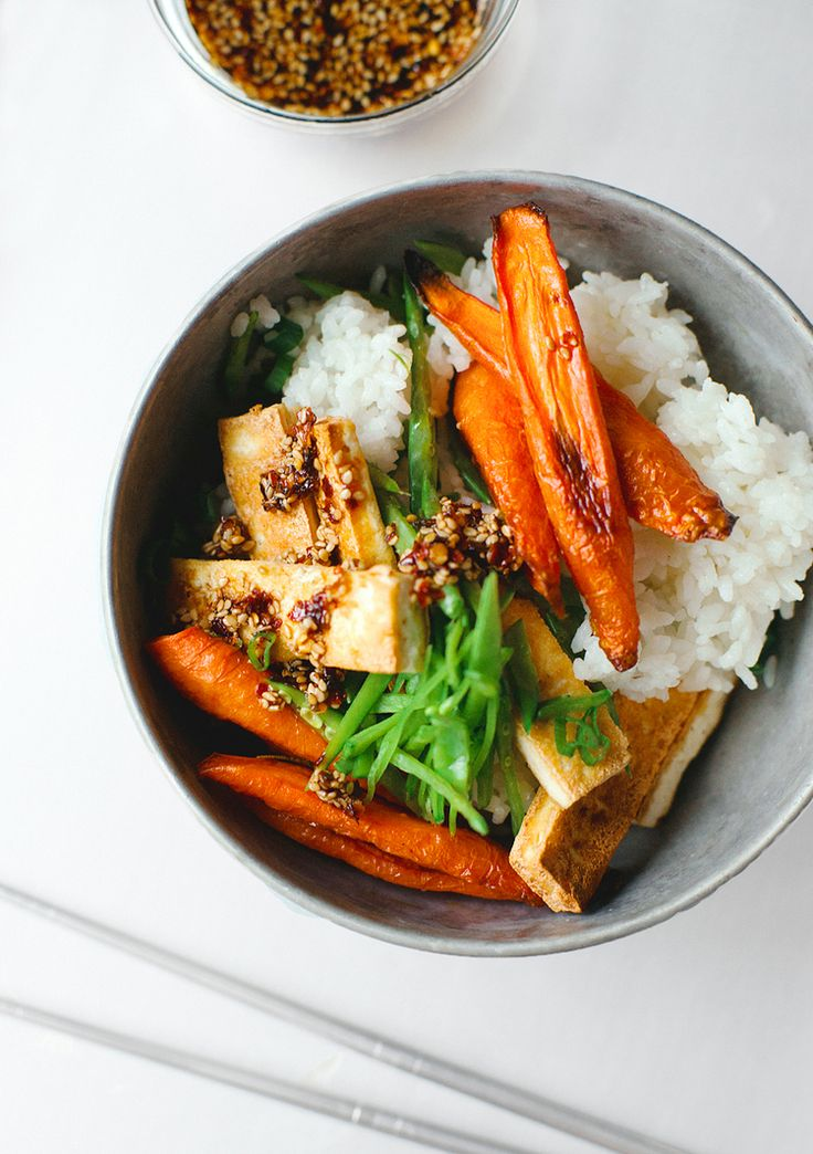 Crispy Tofu with Roasted Carrots and Snow Peas