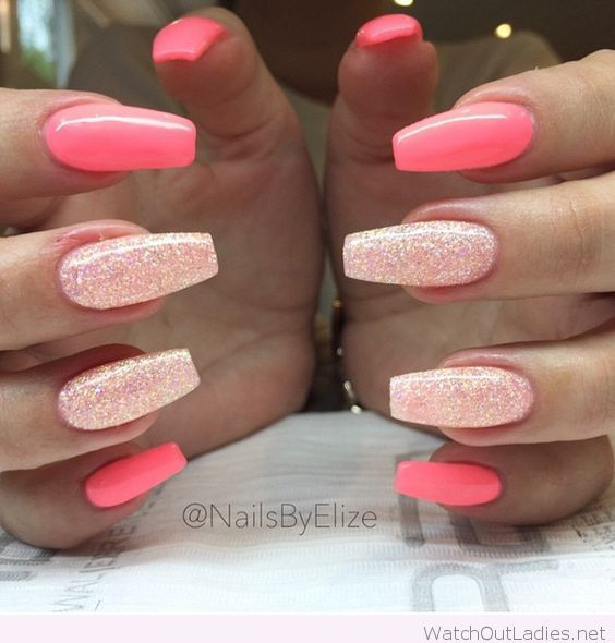 Long coral nails with white glitter