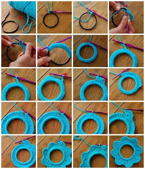 Mini marcos de crochet hechos con pulseras