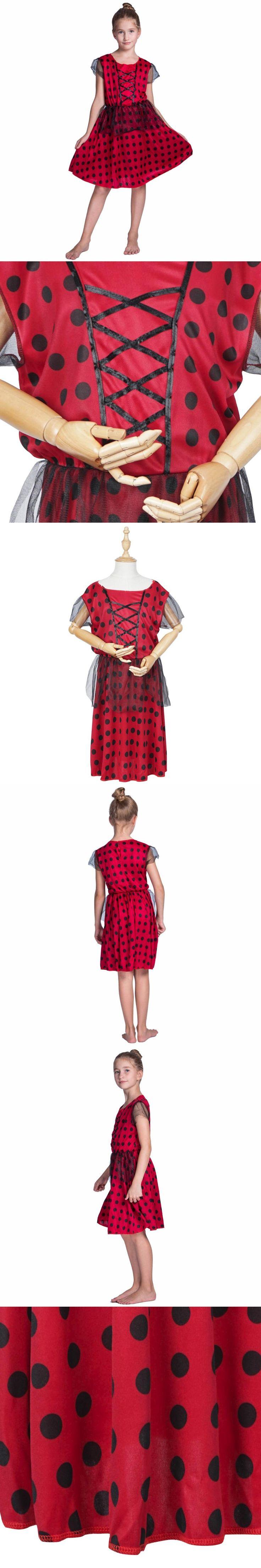 Girls Dress Lady Bug Costume Ladybug Cosplay Kids Polka Dot Children Red Bug Fancy Dress Skirt with Mesh for Halloween Carnival