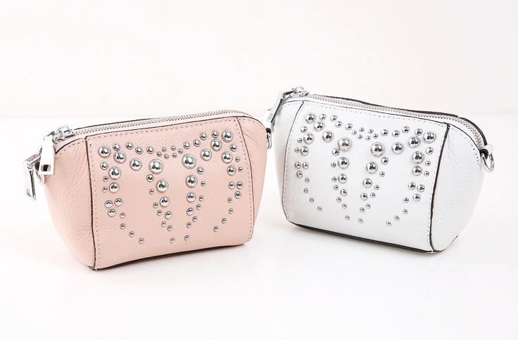 StyleOnme_Studded Leather Pouch Bag #minipouch #cute #leather