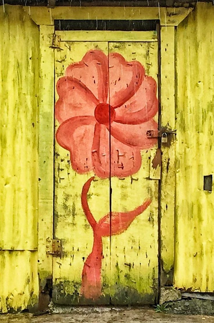 Flower mural painted on door or garden gate. Miches, Dominican Republic