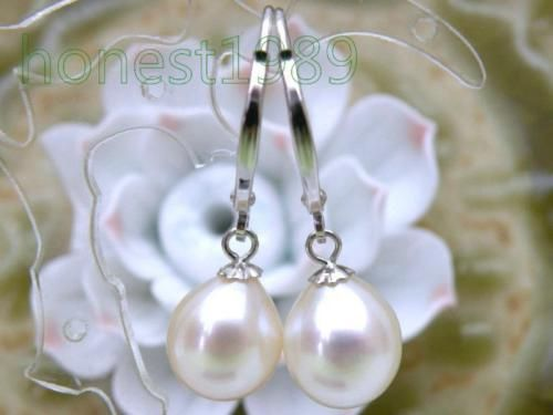LUXURIOUS-10-13mm-Drop-White-Akoya-Pearls-Dangle-Earring-14K-Solid-White-Gold