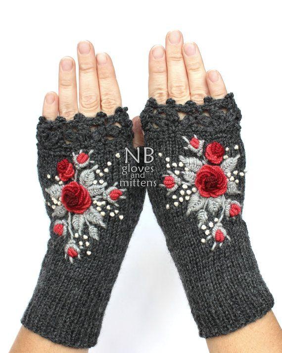 Knitted Fingerless Gloves, Dark Grey, Red, Gray, Roses, Gloves & Mittens…