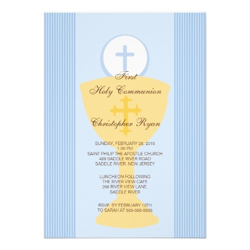 First Holy Communion Invitation Chalice Boy Blue The Chalice is all Paul has talked about for 2 years--so I think the invitation should have one!