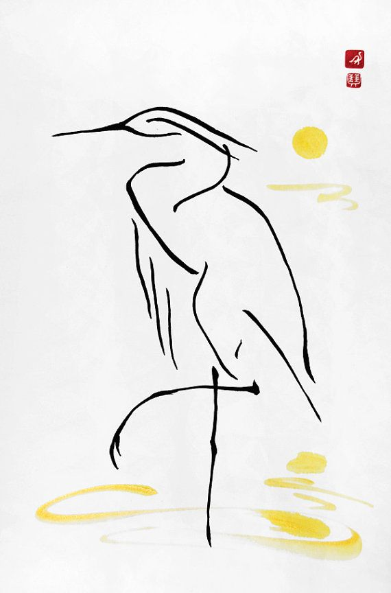 White Crane with a Moon, Chinese Calligraphy, Japanese Calligraphy, Zen, Line…