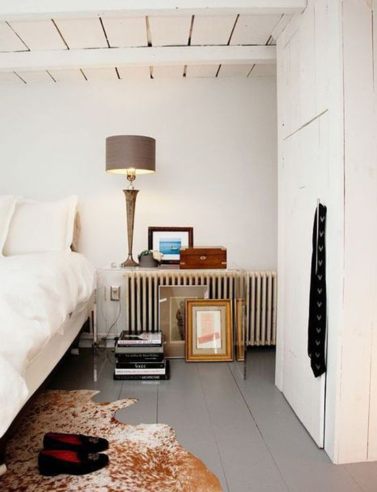 White. Gray. Grey. Floor. Animal Hide Rug. Bedside Table Display.