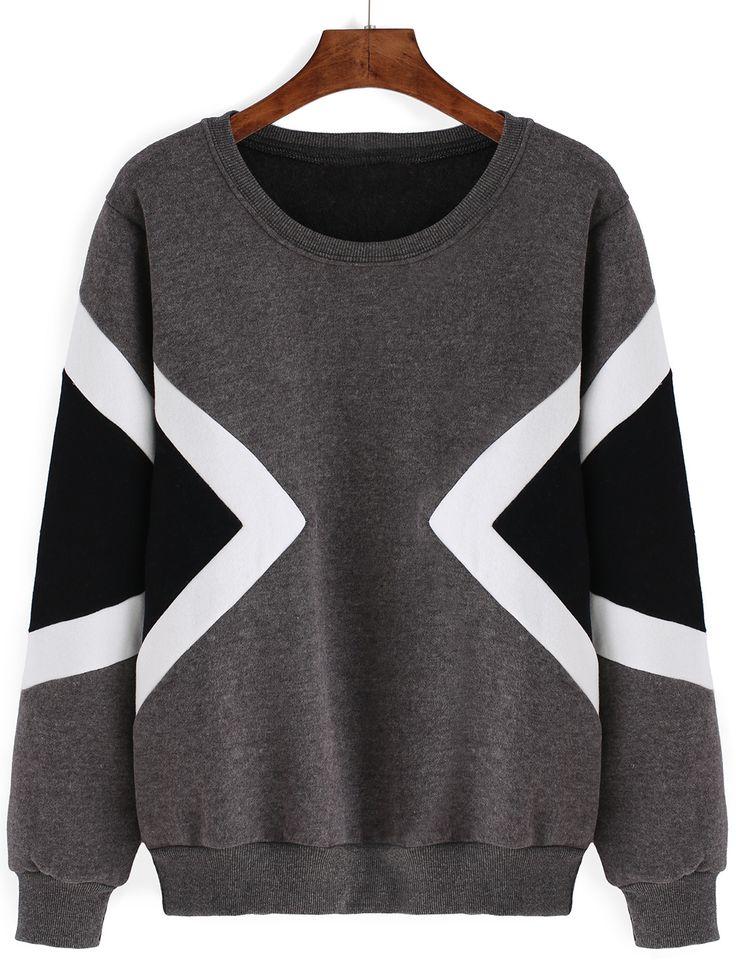Geometric Print Thicken Grey Sweatshirt 13.00