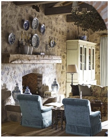 Cottage living room with stone wall cottage pinterest - Manteles shabby chic ...