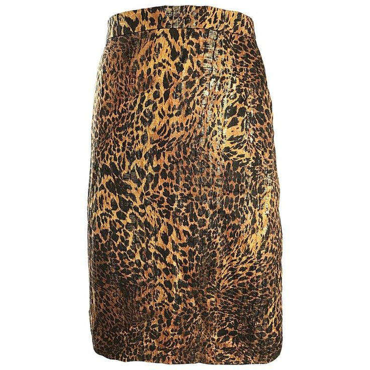 Vintage Escada Margaretha Ley Silk Leopard Print   Gold High Waist Pencil Skirt | From a collection of rare vintage skirts at https://www.1stdibs.com/fashion/clothing/skirts/