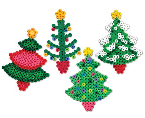 Kerstboompjes van strijkkralen