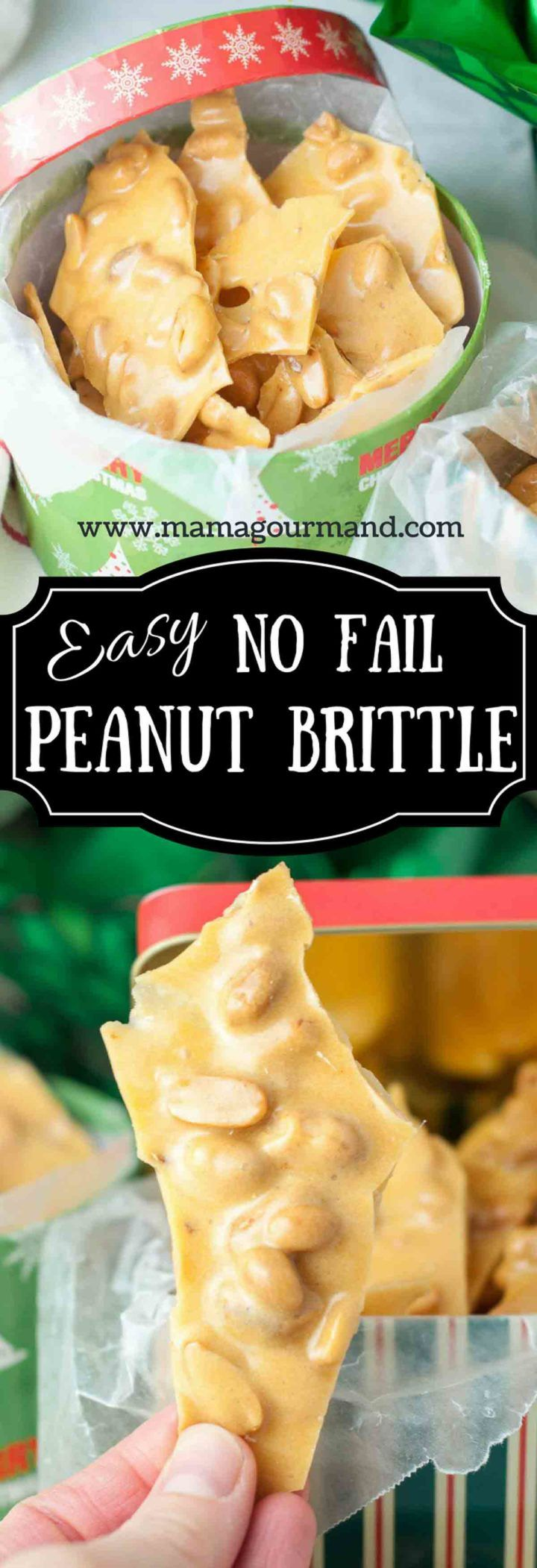 No Fail Peanut Brittle is an easy homemade snack that also makes the perfect holiday gift. http://www.mamagourmand.com