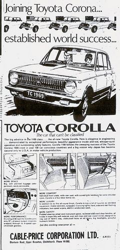 Toyota KE10 Corolla 1968 Advert NZ by Classic Japanese Cars in New Zealand, via Flickr