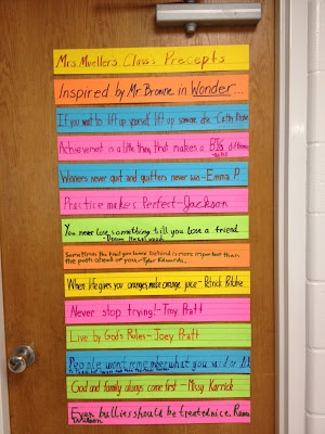 Student precepts inspired by Wonder by  Mrs. Mueller's class.