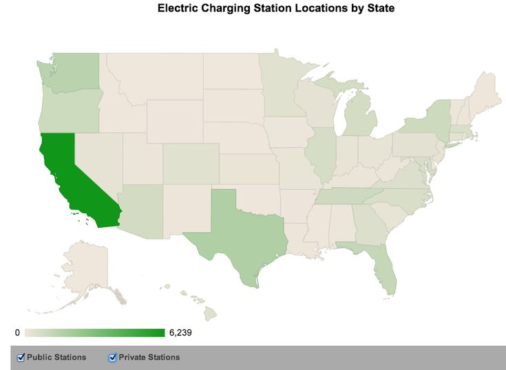 Electric charging station locations in the U.S. - California has the most charging stations.