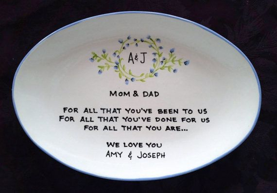 Wedding Gift for Parents Plate Floral oval - Thank you mom and dad - parents gift - vine monogram