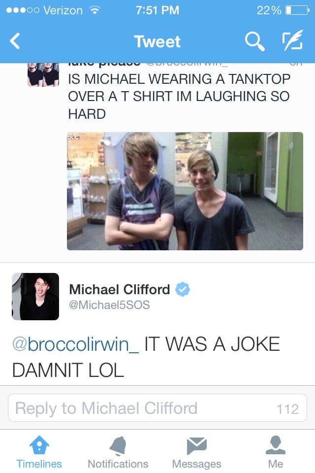 Omg. But how r u talking about the tank top and not how Michael is so much taller that luke in this pic?