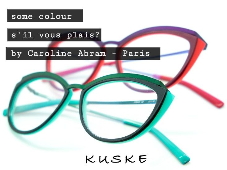 Two examples of the exquisite work of Caroline Abram - La Boutique. Beautifully laminated acetate frames using strong and bold colours in combination with a dainty metal temple and brow bar. Suitable for the smaller face. Very feminine indeed!  #Kuske #KuskeEyewear #KuskeNelson #ShoppingOnHardy #CarolinAbram