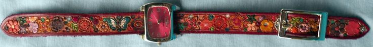 Leather Flower Garden Watch Band with Red Border and Red Face Watch Made in GA USA by galeatherlady on Etsy