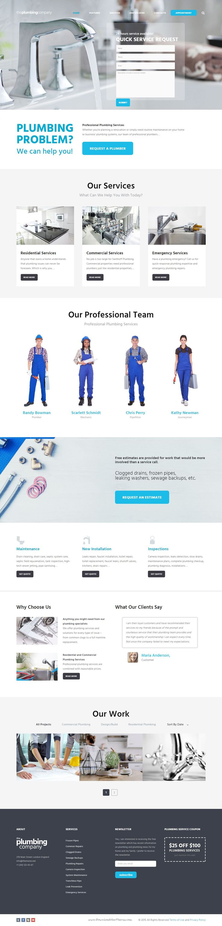 Plumbing - Repair, Building & Construction Template fits perfectly for any home #repair and #maintenance business #website: #plumbing, carpentry, remodeling & renovation, construction business, etc.