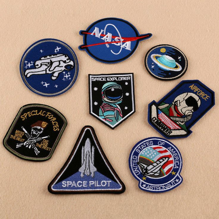 Embroidery NASA Logo Iron Sew On Patch Applique Jackets Cap Backpack Badge White