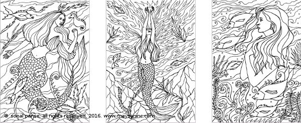The Mermaids Of Quirly Coloring Pages - https://www.amazon.com/Mermaids-Quirly-Coloring-Book-Books/dp/1539121259