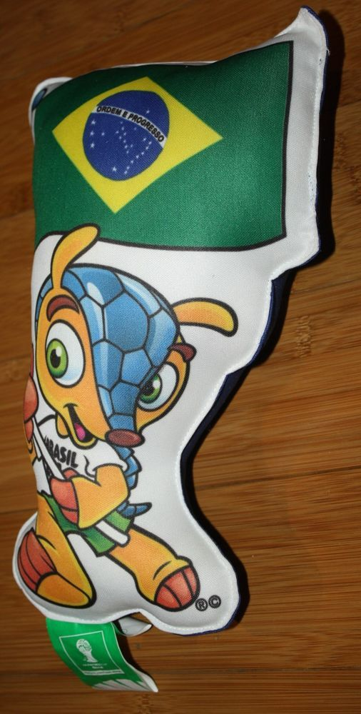 "HTF World Cup 2014 Brazil (Brasil) 11"" Plush Pillow Soccer Flag Mascot W Flag 