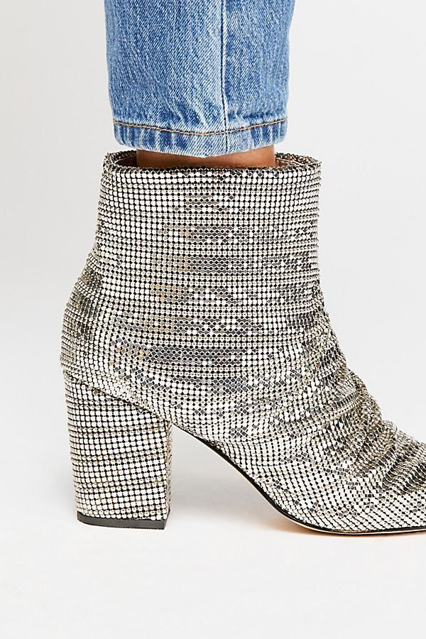 eb24efcfc Vegan Bling Heel Boot - Silver Sparkly Diamond Heeled Booties - Cool Boots  - Sparkly Boots - Fun Booties