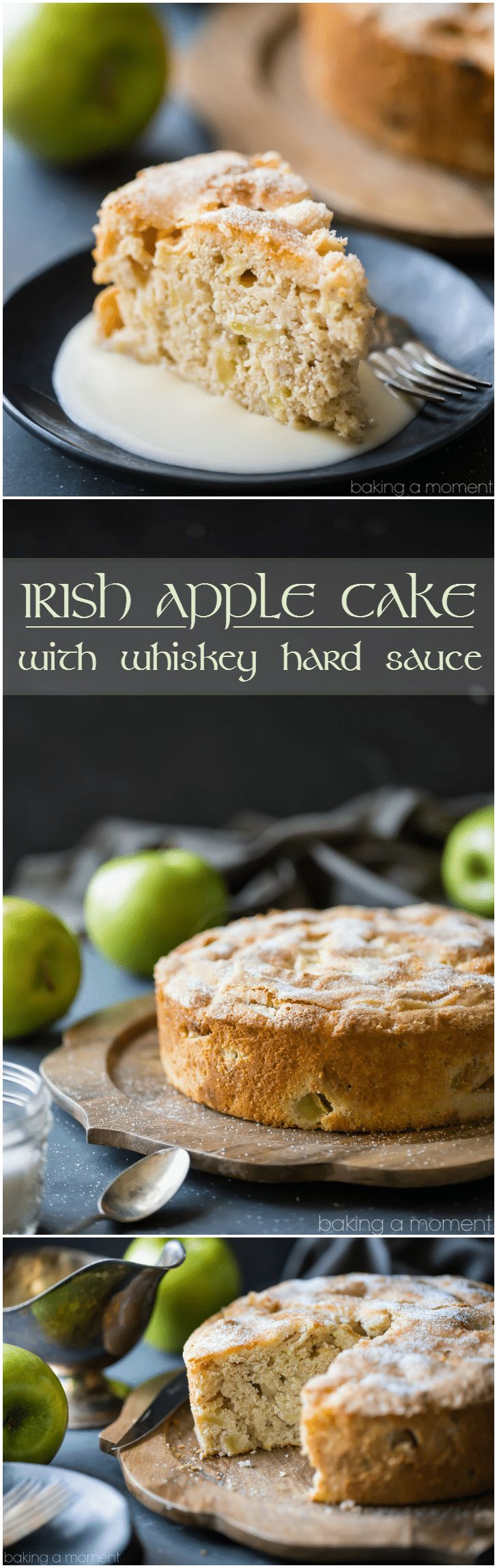 I made this Irish Apple Cake for St. Patrick's Day, but honestly it was so good I'd eat it any time of year! There was just a hint of cinnamon, allowing the tart apple flavor to really shine. The whiskey hard sauce was the perfect creamy compliment!  food desserts cake via @Allie Baking a Moment