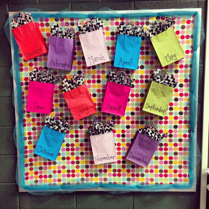 My birthday board for my classroom! Fabric background, tool border, and a bag for each month! After school starts a picture of all the birthdays for that month will go on the front of the bag. Best thing about it is that it can stay up all year!