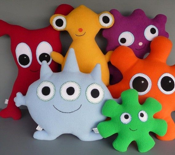 friendly monsters-- add taggies and crinklies inside for baby toy: