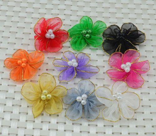 10Pcs Organza Ribbon Flower w/Pearl Appliques/craft/Wedding decoration
