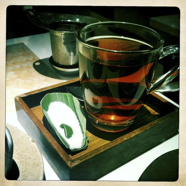 (V) Teh Poci (Indonesian Jasmine Black Tea) with sugar on leaf from Te Sate, Plaza Senayan, Jakarta