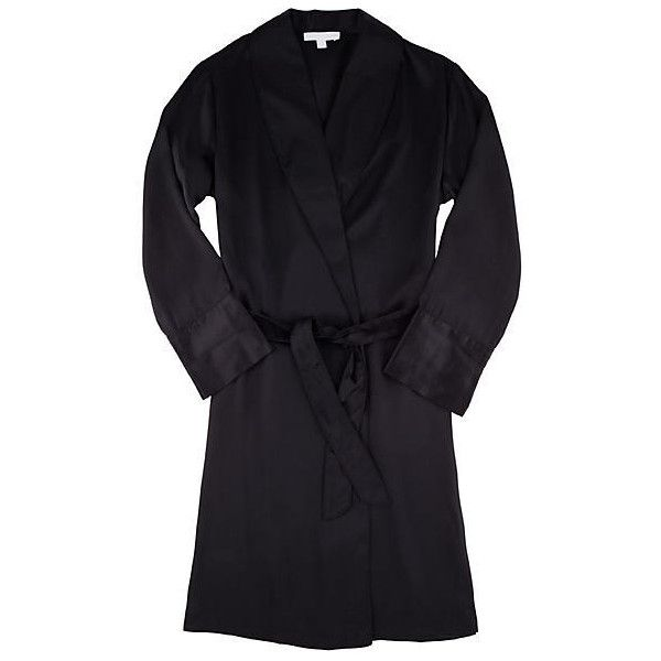 Journelle Coco Robe ($184) ❤ liked on Polyvore featuring intimates, robes, lingerie, robe, black, silk dressing gown, bath robes, lingerie robe, silk lingerie and silk bathrobe
