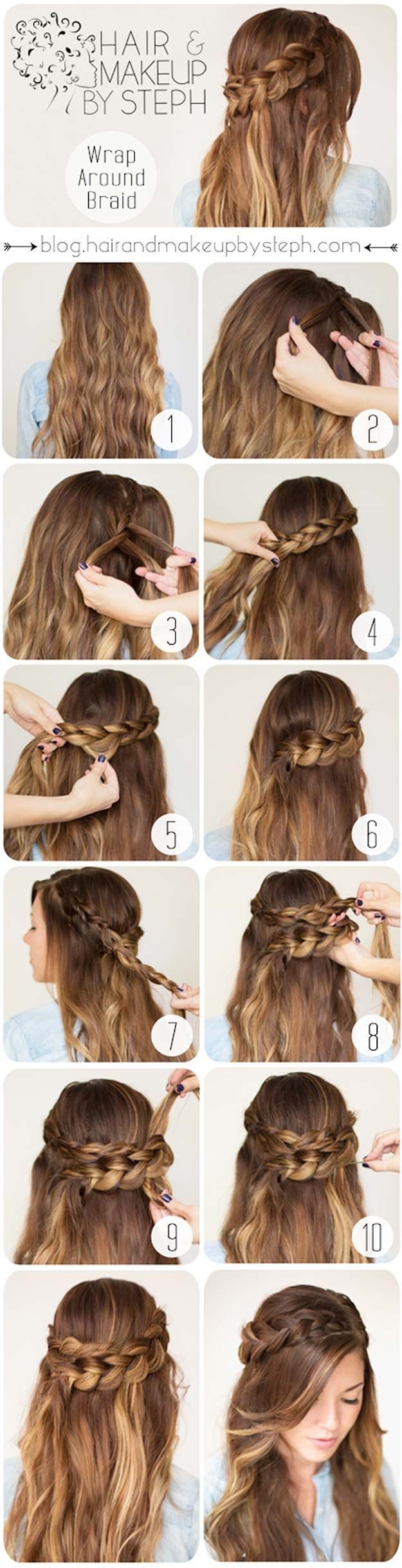 Easy Hairstyles for Work - Wrap Around Braid - Quick and Easy Hairstyles For The Lazy Girl. Great Ideas For Medium Hair, Long Hair, Short Hair, The Undo and Shoulder Length Hair. DIY And Step By Step - https://www.thegoddess.com/easy-hairstyles-for-work #diyhairstylesstepbystep