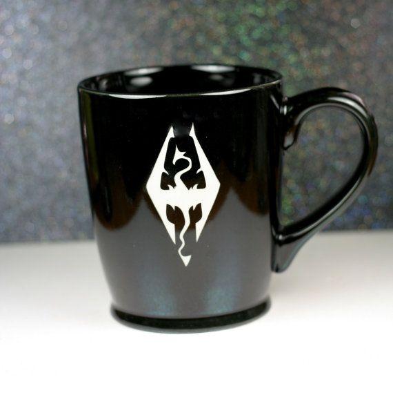skyrim edler scrolls dragon sandblasted ceramic coffee mug by