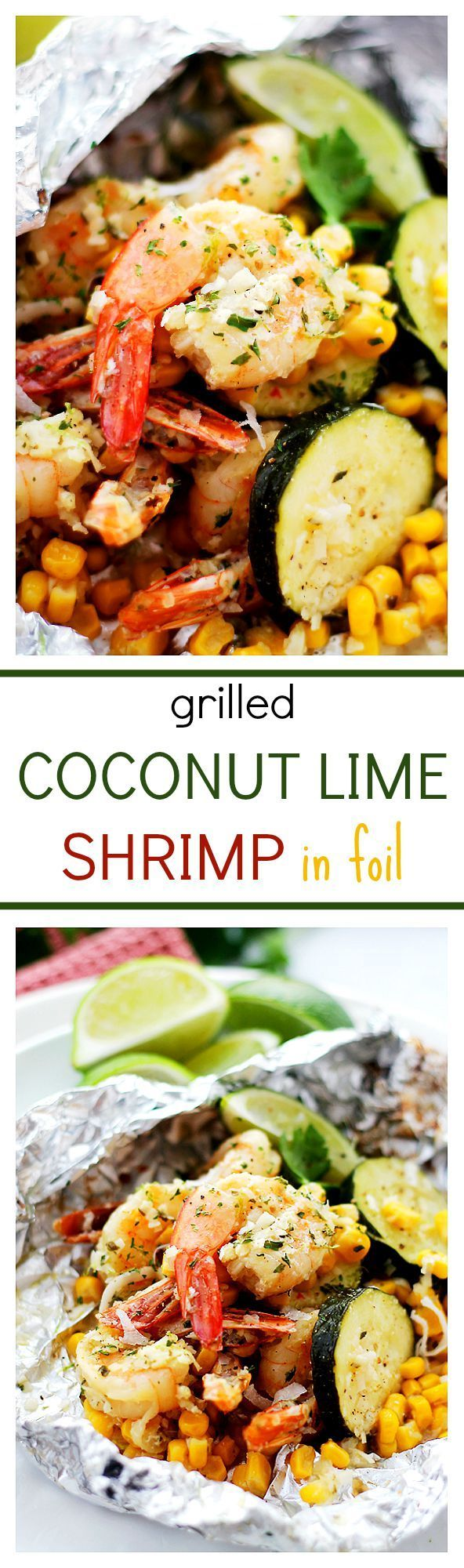 Grilled Coconut Lime Shrimp and Summer Veggies in Foil – Coconut-lime marinated shrimp, corn, and zucchini grilled in foil-packets. This makes for one easy, super delicious, 30-minute summer dinner!