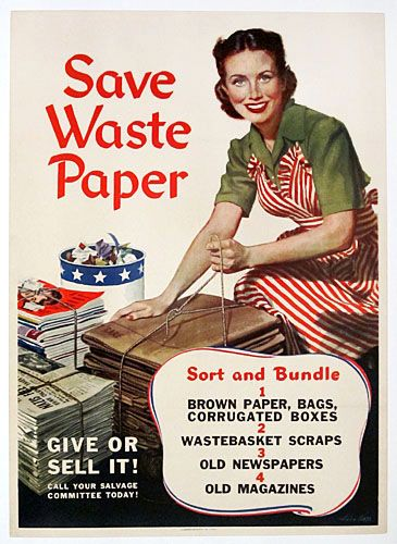1944 poster to promote recycling of paper, cardboard, and periodicals.  Illustrated by Artist Alex Ross